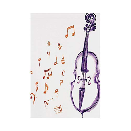 Polyester Garden Flag Outdoor Flag House Flag Banner,Music Decor,Musical Notes Instrument Violin Cello Watercolor Based White Backdrop Print,Purple and Red,for Wedding Anniversary Home Outdoor Garden