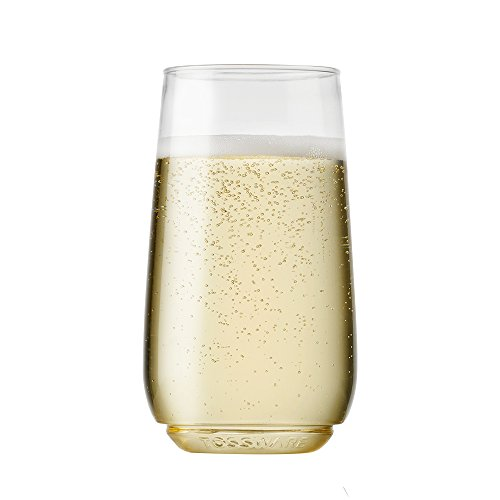 TOSSWARE 6oz Flute Jr - recyclable champagne plastic cup - SET OF 48 - stemless, shatterproof and BPA-free flute glasses (Flute Glass)