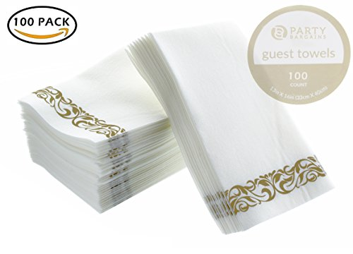 Natures Monogram - Party Bargains Disposable Linen-feel Paper Guest Towels | Durable & Decorative Cloth-like Soft Bathroom Hand Napkins for Dinner, Wedding or Cocktail Party | White & Gold 100 Count