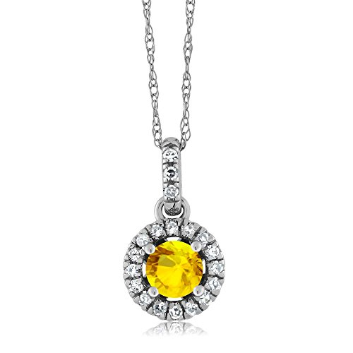 18K White Gold Diamond Halo Solitaire Pendant with 0.46 Ct Round Yellow by Gem Stone King