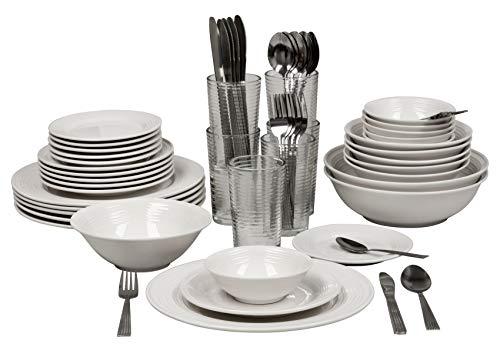 10 Strawberry Street Nova White Round 62-Piece Dinnerware Set, Service for 6