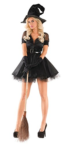 Pin Up Witch Costumes (Adult size Black Bewitching Pin-Up Witch Costume - Medium)