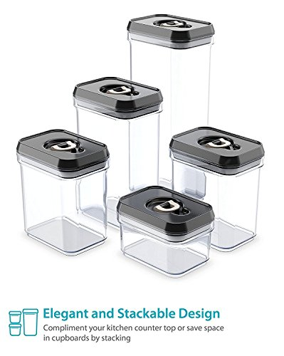 Royal Air Tight Food Storage Container Set   5 Piece Set   Durable Plastic    BPA Free   Clear Plastic With Black Lids: Amazon.ca: Home U0026 Kitchen