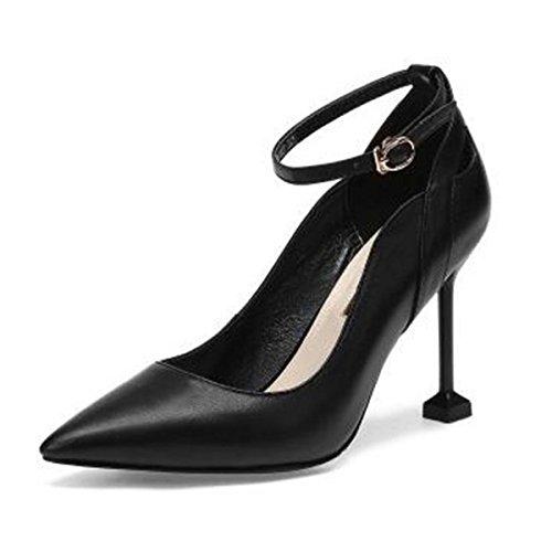 Fersen Leder High Schwarz Flache Pumps Spitzschuh Frauen Pumps Dünne Stilettos Schuhe Heel pqFagSw