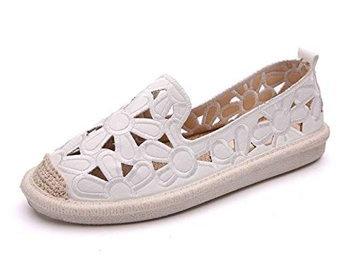 Women's Natural Comfort Walking Flat Loafer Boat Shoes Driving Shoes(White 40/9 B(M) US Women)