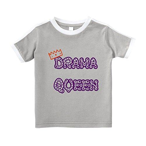 Cute Rascals Dark Purple Drama Queen Princess Crown Cotton Short Sleeve Crewneck Unisex Toddler T-Shirt Soccer Tee - Oxford Gray, -