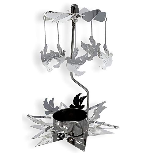 - BANBERRY DESIGNS Spinning Candle - Rotating Silver Tea Light Candle Holder - Flying Dove Charms Spins Around the Star Shaped Base - Tealight Candle Included