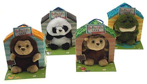 Hickoryville Butterbits Lane Bundle - Prickles Hedgehog, Chestnut Monkey, Wellie Frog & Jade Panda - 5 inch Stuffed Animals