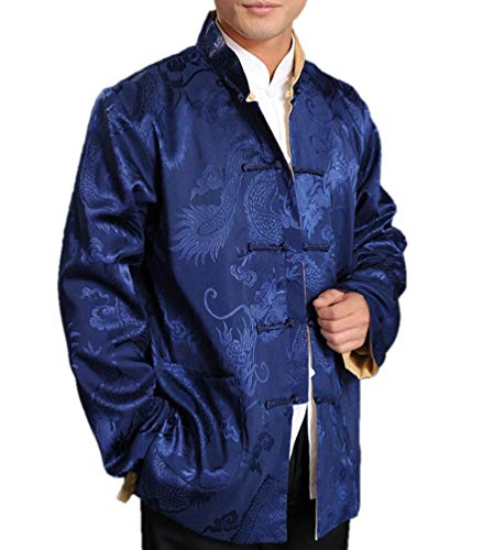 Chinese Tai Chi Kungfu Reversible Blue/Gold Jacket Blazer 100% Silk Brocade #105 + Free Magazine