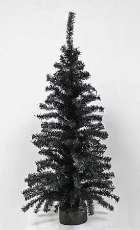 2 Foot Black Artificial Pine Tree for Christmas, Halloween and Year Round Decor