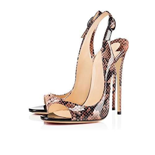 EDEFS Damenschuhe 120mm Peep Toe Slingback High Heels Sandalen mit Schnalle Öffnen Zehe Stiletto Schuhe Python-Braun