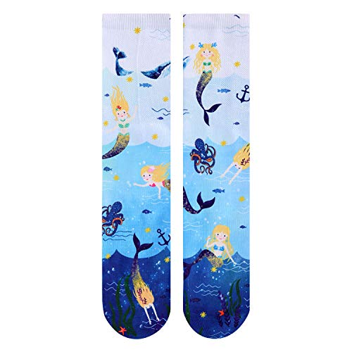Zmart Women Girls Cat Space Pug Socks, Novelty Crazy Funny Animal Crew Tube 3D Print Socks