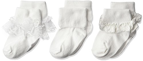(Jefferies Socks Girls' Eyelet Turn Cuff/Fancy Lace Baby 3 Pack, White, Toddler)