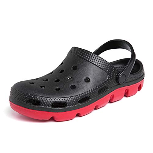 HSBUY Women's and Men's Clogs Slip on Water Shoes Casual Summer Clog Classic Clog Shoes Comfort Garden Water Shoes Non Skid with Arch Support Black