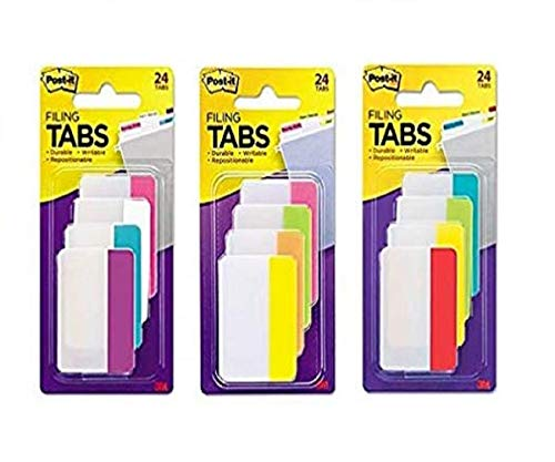 Post-it Tabs, 2-Inch Solid, Assorted Primary/Bright/Neon Colors, 6-Tabs/Color, 12 Colors, 72-Tabs Total