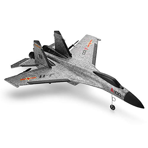 ASfairy-Toy WLtoys A100 SU-27 3CH 2.4G RC Airplane RTF Glider 360° Flip Six Axis Gyroscope Powerful Motor EPP Material Simulation Remote Control Airplane for Kids 14+ Years Old (Grey)