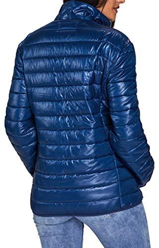 Plumón Faston de Jacket Cremallera Abajo Invierno de del Puffer Collar Azul Abrigo Acolchado Mujer Chaqueta Soporte Ligero HYwrHSqx