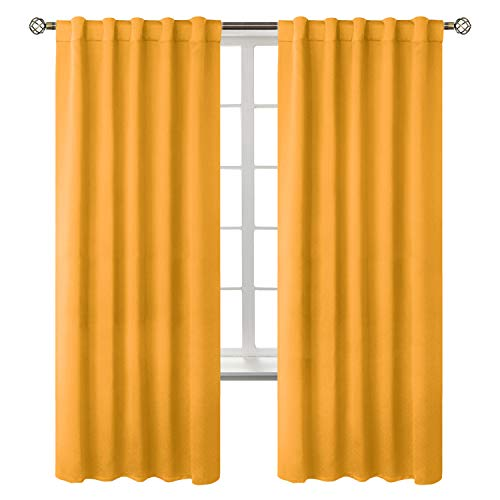 BGment Rod Pocket and Back Tab Blackout Curtains for Kids Bedroom - Thermal Insulated Room Darkening Curtains for Living Room, 2 Window Curtain Panels (42 x 84 Inch, Mustard Yellow)