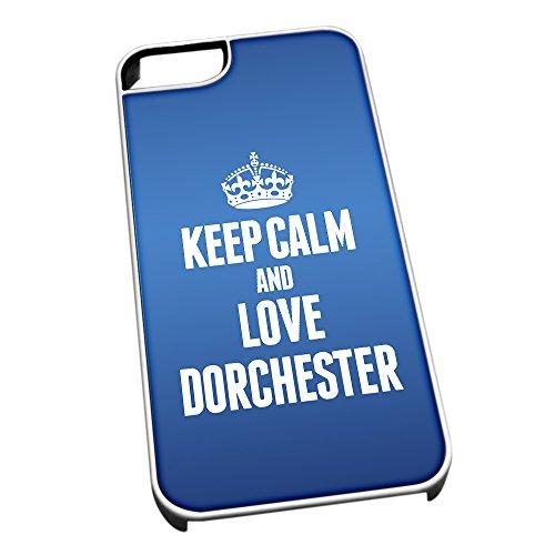 Bianco cover per iPhone 5/5S, blu 0211Keep Calm and Love Dorchester