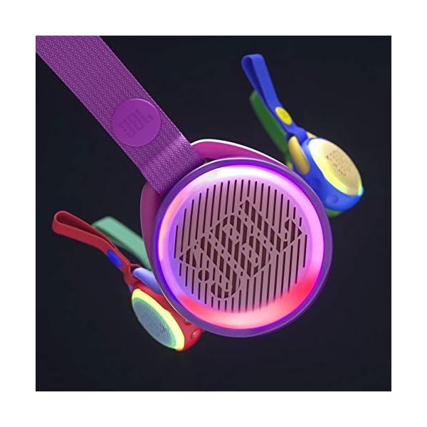 JR POP JBL - Enceinte portable pour enfants - Bluetooth & Waterproof - Avec modes lumineux multicolores & autocollants - Autonomie 5 hrs - Rouge 6