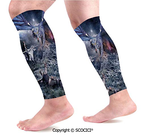 Flexible Breathable Comfortable Leg Skin Protector Sleeve Dragon Fighting with Medieval Knights War Scene in Gothic Fiction Calf Compression Sleeve