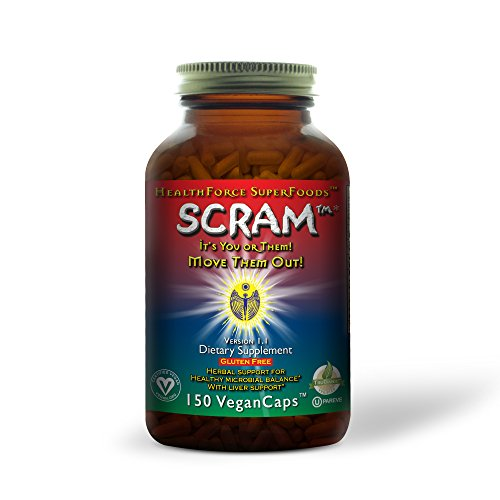 Anti Yeast Formula - HealthForce SuperFoods SCRAM, Internal Parasite Formula, Supports Anti-Microbe, Anti-Fungal, Anti-Yeast Functions, All-Natural, Organic, Non-GMO, Vegan, 150 Count