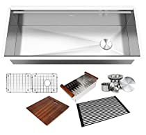 KINGSMAN ALL-IN-ONE Workstation 42 in. 16-Gauge Undermount Single Bowl Stainless Steel Kitchen Sink w/Build-in Ledge and Accessories (Brushed Stainless Steel)