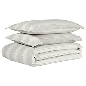 Stone & Beam Washed Linen Stripe Duvet Cover Set, Full/Queen, 90