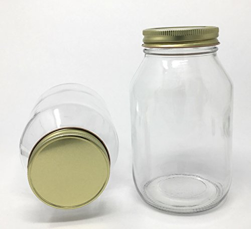 - Quart 32 oz Old Fashioned Round Glass Jar with Gold Metal lid 12-Pack by Richards Packaging