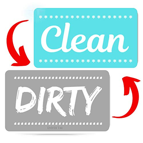 New! Dishwasher Magnet Clean Dirty Sign - Strongest Magnet Double Sided Flip - With Bonus Metal Magnetic Plate - Universal Kitchen Dish Washer Reversible Indicator (Aqua Original) (Clean Sign Dishwasher)