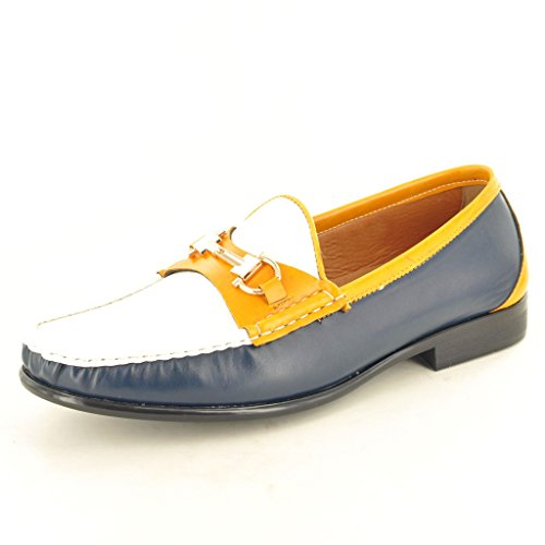 Look Navy Slip Mokassins Loafer Yellow Schuhe Leder auf Casual White Herren qwzT5P6xT