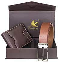 Hornbull Mens Brown Wallet and Brown Belt Combo BW102109