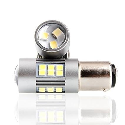 Bombilla LED de freno 1157 BAY15D P21/5W con proyector de trabajo ...