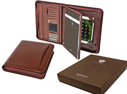 Professional Executive Business Resume Portfolio Padfolio Organizer PU Leather iPad & iPad mini ready for use - Tablet Sleeve, Zipper, Paper Pad, Business Card and Pen Holders, Document Folder - Brown (Cd Padfolio)