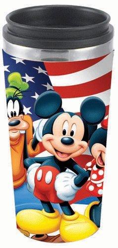 Disney Mickey Minnie Goofy USA Travel Mug