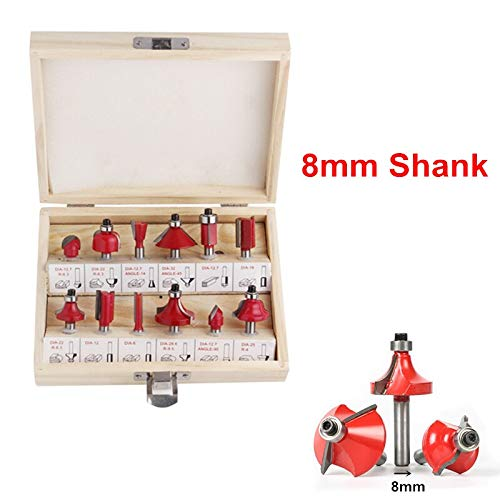 1 piece 12pcs Milling Cutters 1/4''/8mm/1/2'' Shank Router Bit Carbide Woodworking Cutter Engraving Carving Trimming Woodworking Tools