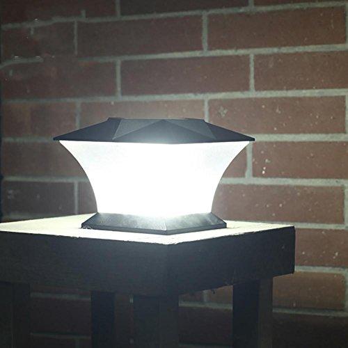 Umiwe Solar Column Lights, Lamp Post Deck Cap Light with 18 LEDs Super Bright Waterproof Outdoor Fence Courtyard Door Landscape Garden Wall Lamp - 1pcs