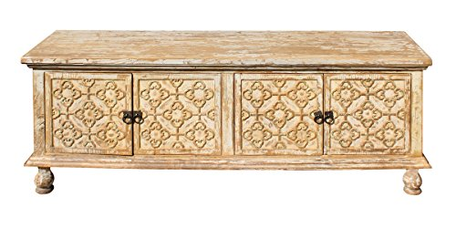 chinese-raw-wood-floral-relief-carving-ball-legs-low-cabinet-acs2748
