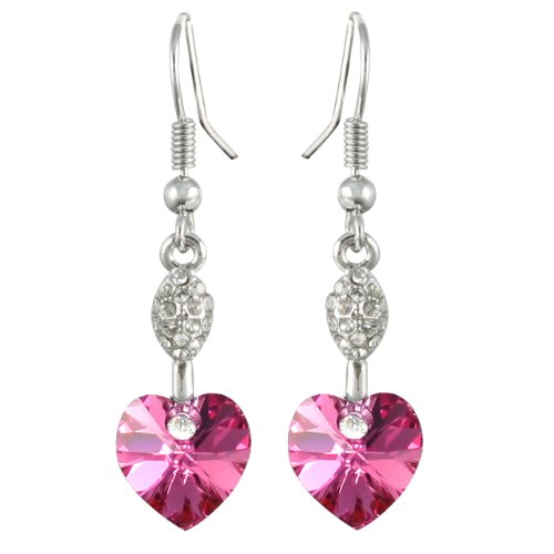 - Dahlia Sparkling Oval Dangle Heart Rhodium Plated Drop Earrings with Crystals from Swarovski, Pink