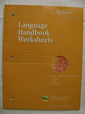 Language Handbook Worksheets Elements of Literature Fifth Course ...