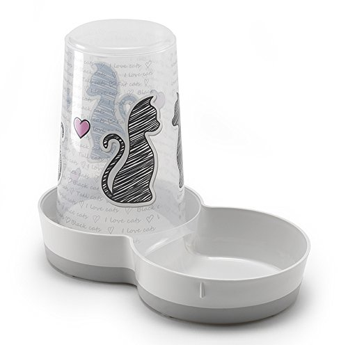 Dispensador alimento seco/agua para gatos Serigraphie Cats In Love: Amazon.es: Productos para mascotas