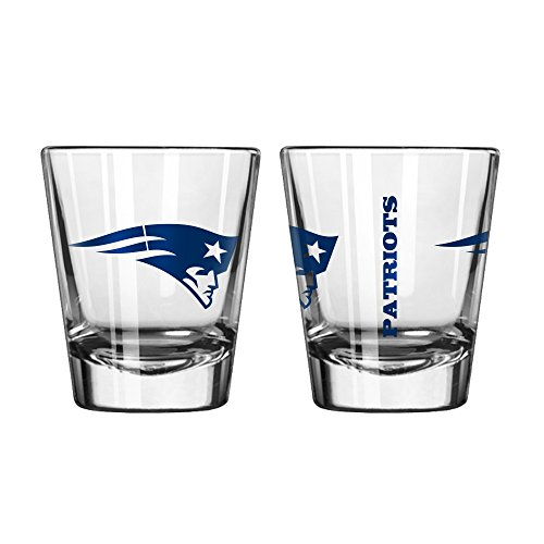 Official Fan Shop Authentic NFL Logo 2 oz Shot Glasses 2-Pack Bundle. Show Team Pride at home, your Bar or at the Tailgate. Gameday Shot Glasses for a goodnight (New England Patriots) ()