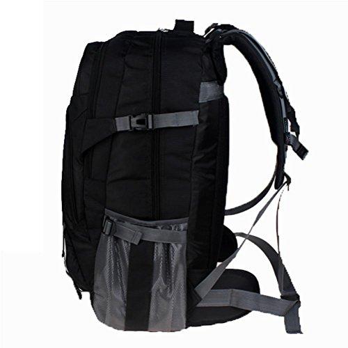Bolso de viaje de ocio al aire libre, mochila grande impermeable, poliéster de escalada al aire libre mochila, mochila de deportes al aire libre 65L, bolsas de estudiante, bolsa de ordenador de negoci black