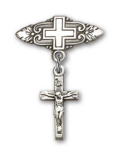 Icecarats Créatrice De Bijoux En Argent Sterling Crucifix Broche De Badge Charme Avec Une Croix X 3/4