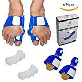 Bunion Corrector - Bunion Splint - Bunion Corrector and Bunion Relief - Restore Natural Toe Alignment - Men & Women - All Foot Sizes - QR - 4 Piece Set - Align Your Big Toes Effortlessly Today!