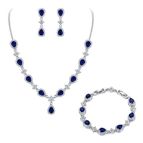 EleQueen Women's Silver-Tone Cubic Zirconia Teardrop Flower Bridal V-Necklace Set Tennis Bracelet Dangle Earrings Sapphire -