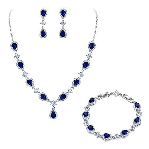 (EleQueen Women's Silver-Tone Cubic Zirconia Teardrop Flower Bridal V-Necklace Set Tennis Bracelet Dangle Earrings Sapphire Color)
