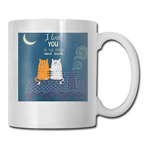 - I Love You Cup Mug Love Valentines Cats on the Roof under Night Sky Stars Caricature Kitty Made of Ceramic Petrol Blue Ivory 11oz