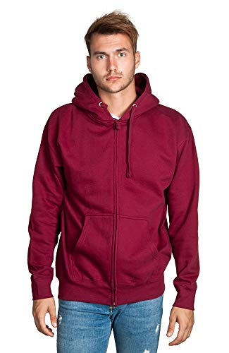 Zeratova Stylish Full Zip Up Hoodie for Men's Boys– Pullover Active EcoSmart Jacket with Long Sleeves, Fleece Lining & Pockets – Zippered Sweatshirt for Sports & Casual Grab Outfits Burgundy, XXXXXL