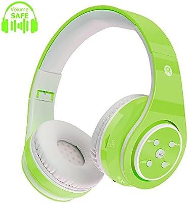 Auriculares para niños con Bluetooth y Volumen Limitado, Tiempo de reproducción prolongado, Ranura para Tarjeta SD, Sonido estéreo, Compatible con ...